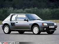 1984 Peugeot 205 Turbo 16 = 205 kph, 200 bhp, 7.2 sec.